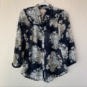 Philosophy Floral Sheer Blouse Blue Cream Small